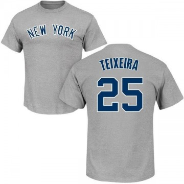 Men's Mark Teixeira New York Yankees Roster Name & Number T-Shirt - Gray